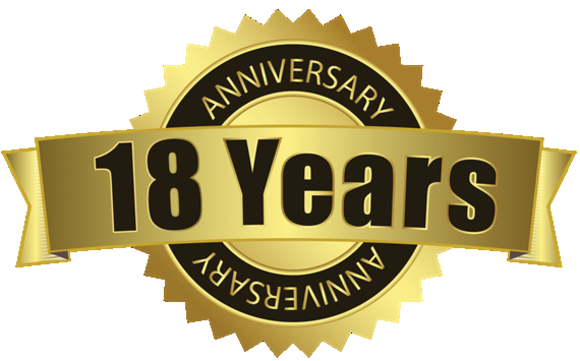 18 Year Anniversary in Business